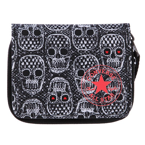 Кошелек женский Converse Zip Wallet PB Skull Grey