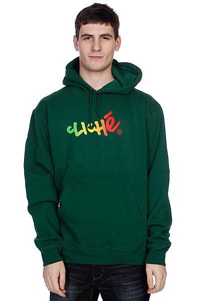 Кенгуру Cliche Handwritten Gradient Pullover Dark Green/Rasta<br><br>Цвет: зеленый<br>Тип: Толстовка кенгуру<br>Возраст: Взрослый<br>Пол: Мужской