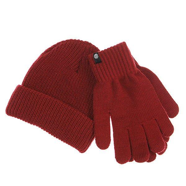 Комплект Element Rook Set Crimson RedВ комплект входит шапка и перчатки<br><br>Цвет: бордовый<br>Тип: Шапка<br>Возраст: Взрослый
