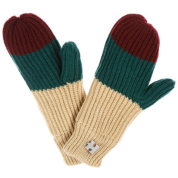 Варежки женские Harrison Beatrice Gloves Beige/Dark Green/Wine