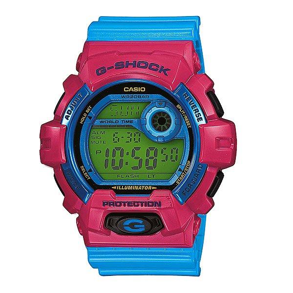 Часы Casio G-Shock G-8900Sc-4EПол: мужские   Механизм: кварцевые   Материал корпуса: пластик   Стекло: минеральное   Тип браслета/ремня: пластиковый ремень   Водозащита: 200м   Мультифункциональные часы: да   Будильник: есть   Подсветка (кварц.): есть   Жидкокристаллический дисплей (кварц.): есть  Особенности:    Светодиодная автоподсветка особой яркости     Светодиод подсвечивает дисплей часов ярким светом. При повороте часов в сторону лица подсвечивание дисплея осуществляется автоматически, благодаря функции «Автоподсветка». Продолжительность подсветки можно изменять.     Функция Flash Alert - при срабатывании сигнала будильника и таймера, ежечасного сигнала и запуска секундомера включается светодиодная подсветка.   Ударопрочные     Ударопрочная конструкция защищает от ударов и вибрации.   Мировое время     В данном режиме вы можете просмотреть местное время в некоторых основных городах и определенных регионах мира. Показания текущего времени в 48 городах (31 часовая зона).     Режим «Мульти-Тайм» - показания текущего времени в 4-х зафиксированных городах.   Секундомер     Точное измерение истекшего времени касанием кнопки. Секундомер позволяет регистрировать отдельные отрезки времени, время с промежуточным результатом и время двойного финиша. Точность измерения 1/100 сек, запас измерения 24 часа.   Таймер обратного отсчета     Производит обратный отсчет, начиная с заданного вами времени. При окончании отсчета (0 минут, 0 секунд) издается 10-секундный сигнал. Максимальное время установки 24 часа - шаг измерения 1/10 сек, минимальное время установки 1 минута.   Будильник     Ежедневный сигнал звучит каждый день в установленное вами время. Можно установить до 5 независимых ежедневных сигналов.   Ежечасный сигнал     Функция ежечасного сигнала обеспечивает подачу часами звукового сигнала при наступлении каждого нового часа.   Включение/выключение звука кнопок     При желании звук кнопок при переходе из одного режима в другой может быть выключен. При этом звук будильн