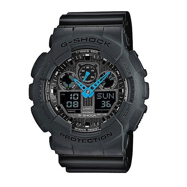 Часы Casio G-Shock Ga-100C-8AПол: мужские   Механизм: кварцевые   Материал корпуса: пластик   Стекло: минеральное   Тип браслета/ремня: пластиковый ремень   Водозащита: 200м   Мультифункциональные часы: да   Будильник: есть   Подсветка (кварц.): есть   Жидкокристаллический дисплей (кварц.): есть  Особенности:    Данная модель представлена в аналого-цифровом варианте (стрелки + Жидкокристаллический дисплей)   Светодиодная авто Подсветка     Светодиод подсвечивает дисплей часов. При повороте часов в сторону лица подсвечивание дисплея осуществляется автоматически, благодаря функции «Авто Подсветка». Продолжительность подсветки можно изменять.   Мировое время     В данном режиме вы можете просмотреть местное время в некоторых основных городах и определенных регионах мира. Показания текущего времени в 48 городах (29 часовых зон).   Секундомер     Точное измерение истекшего времени касанием кнопки. Секундомер позволяет регистрировать время преодоления отдельных дистанций, общее время преодоления всех отрезков гонки/соревнований, отдельных дистанций гонки. Точность измерения 1/1000 сек, запас измерения 100 часов.     Расчет средней скорости движения - в режиме секундомера можно ввести длину дистанции для вычисления средней скорости перемещения.   Таймер обратного отсчета с функцией автоповтора     Производит обратный отсчет, начиная с заданного вами времени. При окончании отсчета (0 минут, 0 секунд) издается 10-секундный сигнал. После чего таймер автоматически возвращается к установленному времени и снова начинает обратный отсчет. Данная функция особенно полезна для тех, кому нужно регулярно принимать лекарства.     Максимальное время установки 24 часа - шаг измерения 1/1 сек, минимальное время установки 1 минута.   Будильник     Ежедневный сигнал звучит каждый день в установленное вами время. Можно установить до 5 независимых ежедневных сигналов.   Функция повтора сигнала будильника (SNOOZE)     Через несколько минут после остановки сигнала он повторяется.   Ежечасный сиг