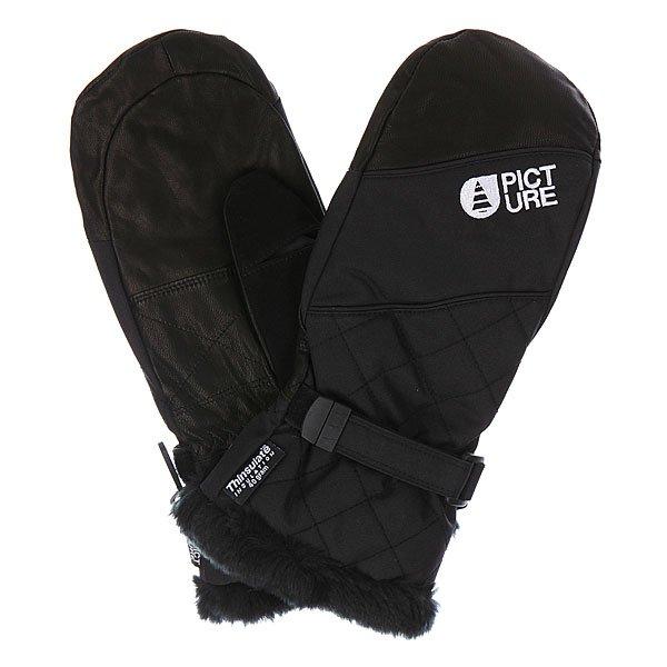 Варежки сноубордические женские Picture Organic Moufle BlackХарактеристики: Мягкая внутренняя подкладка из микрофлиса. Влагонепроницаемое внешнее покрытие DWR. Мягкая флисовая нашивка на большом пальце для протирания очков. Фиксирующий ремешок-липучка для дополнительной фиксации запястья.Фиксирующие карабины для крепления перчаток к куртке. Декоративная отделка манжеты искусственным мехом. Логотип производителя.<br><br>Цвет: черный<br>Тип: Варежки сноубордические<br>Возраст: Взрослый<br>Пол: Женский