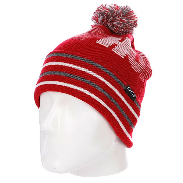 Шапка с помпоном Huf 10K Beanie Red шапка с помпоном k1x bommel beanie black red