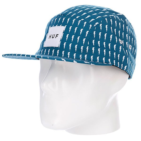 Бейсболка пятипанелька Huf Thunder Bolt Box Volley Aqua/White<br><br>Цвет: голубой<br>Тип: Бейсболка пятипанелька<br>Возраст: Взрослый
