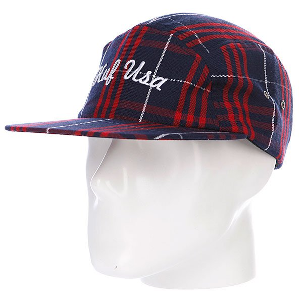 бе-йсболка-пятипане-лька-huf-usa-plaid-moon-cap-black-white-red