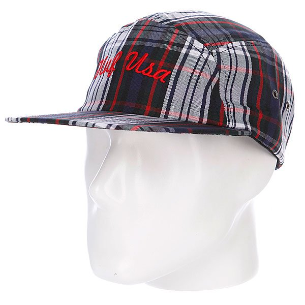 бе-йсболка-пятипане-лька-huf-usa-plaid-moon-cap-red-blue-white