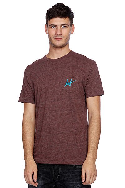 Футболка Huf Small Script Pocket Tee Brown Heather