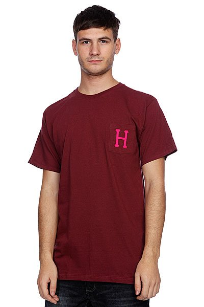 Футболка Huf Classic H Pocket Tee Burgandy майка huf 12 galaxies tank burgandy heather