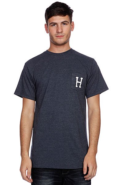Футболка Huf Classic H Pocket Tee Denim Heather майка huf 12 galaxies tank burgandy heather