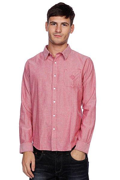Рубашка Huf Classic Chambray L/S Woven Red рубашка huf floral s s woven salmon floral