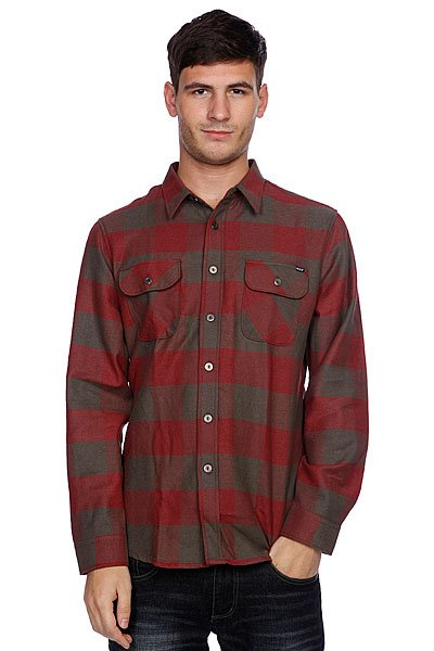 Рубашка в клетку Huf Thompson Buffalo Flannel Dusty Olive/Maroon maroon 5 v