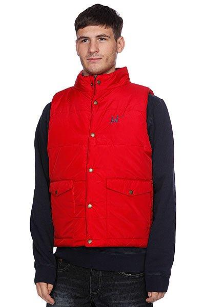 Жилет Huf Verses Puffer Vest Navy/RedТехнические характеристики: Верх из 100% нейлона.Легкое дополнительное утепление (осень/весна). Внутренняя отделка из тафты. Застежка - кнопки. Двусторонний фасон.  Внешние боковые прорезные карманы для рук на кнопках.  Фасон: Телогрейка (Body warmer).<br><br>Цвет: красный,синий<br>Тип: Жилетка<br>Возраст: Взрослый<br>Пол: Мужской