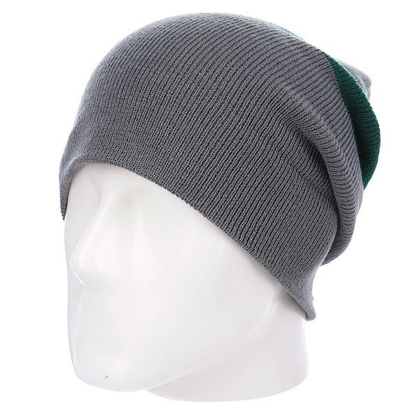 Шапка носок Diamond Cities Fold Beanie Grey/Green<br><br>Цвет: зеленый,серый<br>Тип: Шапка носок<br>Возраст: Взрослый