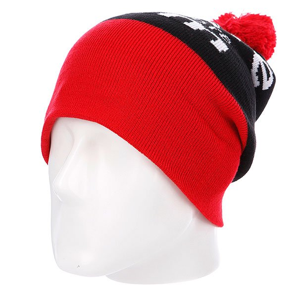 Шапка с помпоном Diamond I Am Fold Beanie Red/Black