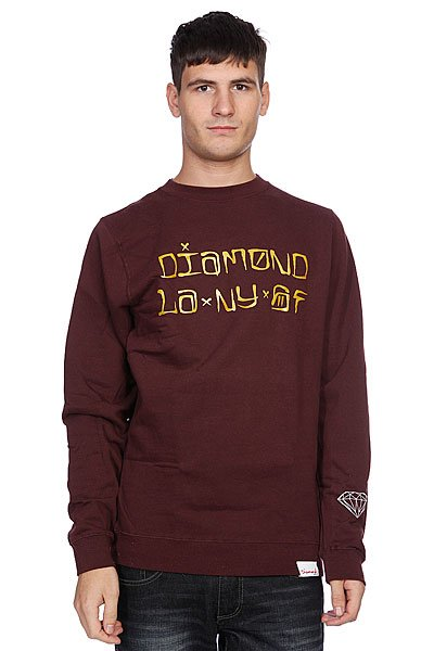 Толстовка Diamond Cities Crewneck Burgundy