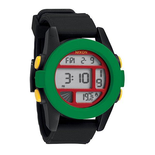 Часы Nixon Unit RastaНемного футуристичны, но максимально функциональны! Легко читаемый циферблат сообщит вам время, дату и температуруМеханизм:Электронный механизмФункции: датчик температуры, два времени, таймер обратного отсчета, , будильник, подсветкаКорпус:Ширина 49mm,Материал: поликарбонат,Водонепроницаемость с характеристикой 100 м (10 атмосфер),Усиленное минеральное стеклоРемешок:Материал: силикон,Застежка из поликарбоната.Ширина 24mm<br><br>Тип: Электронные часы<br>Возраст: Взрослый<br>Пол: Мужской