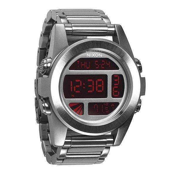 Часы Nixon Unit Ss Silver/redНемного футуристичны, но максимально функциональны! Легко читаемый циферблат сообщит вам врем, дату и температуруМеханизм:Электронный механизмФункции: датчик температуры, два времени, таймер обратного отсчета, , будильник, подсветкаКорпус:Ширина 49mm,Материал: поликарбонат,Водонепроницаемость с характеристикой 100 м (10 атмосфер),Усиленное минеральное стеклоРемешок:Материал: силикон,Застежка из поликарбоната.Ширина 24mm<br><br>Тип: Электронные часы<br>Возраст: Взрослый<br>Пол: Мужской
