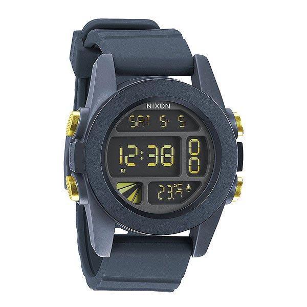 Часы Nixon Unit Steel Blue/yellow AnoНемного футуристичны, но максимально функциональны! Легко читаемый циферблат сообщит вам время, дату и температуруМеханизм:Электронный механизмФункции: датчик температуры, два времени, таймер обратного отсчета, , будильник, подсветкаКорпус:Ширина 49mm,Материал: поликарбонат,Водонепроницаемость с характеристикой 100 м (10 атмосфер),Усиленное минеральное стеклоРемешок:Материал: силикон,Застежка из поликарбоната.Ширина 24mm<br><br>Тип: Электронные часы<br>Возраст: Взрослый<br>Пол: Мужской
