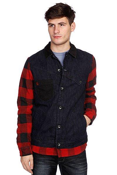 Куртка Volcom Lumber Jacket IndigoТехнические характеристики: Верх из 100% хлопка. Внутренняя мягкая подкладка из стеганной тафты. Классический воротник. Застежка – пуговицы по всей длине. Два боковых кармана для рук.  Фасон: стандартный (regular fit).<br><br>Цвет: красный,синий<br>Тип: Куртка<br>Возраст: Взрослый<br>Пол: Мужской