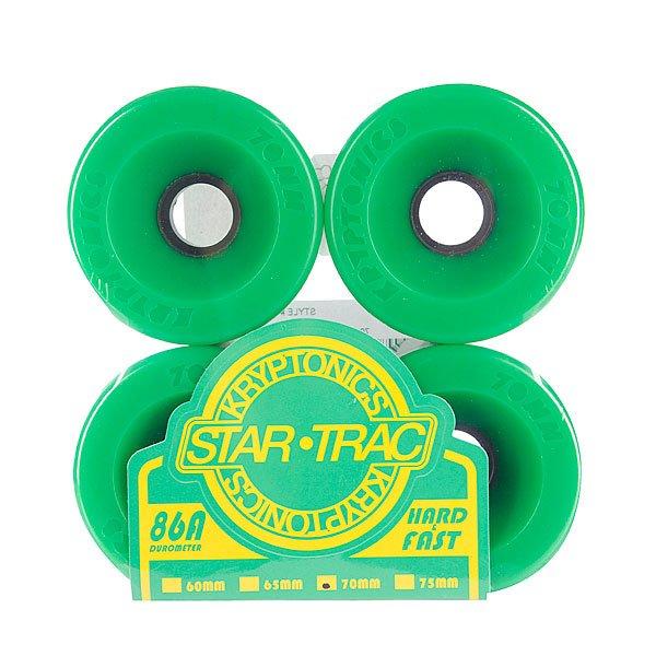 Колеса для скейтборда для лонгборда Kryptonics Star Trac Premium Green 86A 70mmБыстрые и долговечные колеса из прочного пластика от Kryptonics.Технические характеристики: Материал - полиуретан.Диаметр - 70 мм.Жесткость - 86А.Комплект из 4 колес.<br><br>Цвет: зеленый<br>Тип: Колеса для лонгборда
