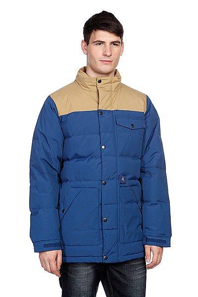 Куртка зимняя Burton Hrtg Down Jk Atlantic/AntiqueТехнические характеристики: Верх из 100% нейлона. Внутренняя подкладка из тафты. Утепление - синтепон.  Застежка – молния + кнопки по всей длине.  Воротник-стойка. Два боковых прорезных кармана для рук.  Фасон: стандартный (regular fit).<br><br>Цвет: бежевый,синий<br>Тип: Куртка зимняя<br>Возраст: Взрослый<br>Пол: Мужской
