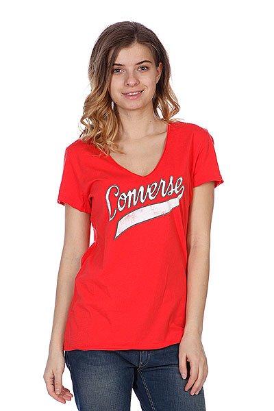 Футболка женская Converse Script Logo Red<br><br>Цвет: красный<br>Тип: Футболка<br>Возраст: Взрослый<br>Пол: Женский