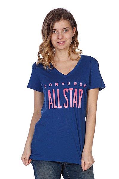 Футболка женская Converse All Star V Neck Blue Proskater.ru 1100.000