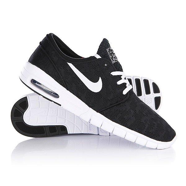 Кеды кроссовки Nike Stefan Janoski Max Black/WhiteПрогуляйся в новых Nike Stefan Janoski – и ты не захочешь с ними расставаться! Про-модель Стэфана Яноски.  Характеристики:   Верх из высокопрочного текстиля.  Внутренняя тканьная отделка.  Мягкая внутренняя артикуляционная стелька из пенорезины.   Технология зонального смягчения Nikes Zoom Air.   Уплотненная область «олли» (носок). Классическая круглая шнуровка с тонированными металлическими люверсами.  Тонкие стенки, язычок и пятка.   Гибкая вулканизированная резиновая подошва.  Логотип производителя на язычке и сбоку ботинка.  Про-модель Стэфана Яноски.<br><br>Цвет: черный<br>Тип: Кеды низкие<br>Возраст: Взрослый<br>Пол: Мужской