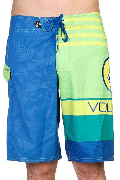 Шорты Volcom Euro Stripe Electric Green<br><br>Цвет: зеленый,синий<br>Тип: Шорты<br>Возраст: Взрослый<br>Пол: Мужской
