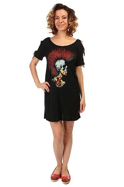 Платье женское Volcom Knotted Tee Dress BlackСвободное легкое платье с зауженной талией. Свежий дизайн на новый теплый сезон.Характеристики:Свободный крой. Состав: 100% вискоза.<br><br>Цвет: черный<br>Тип: Платье<br>Возраст: Взрослый<br>Пол: Женский