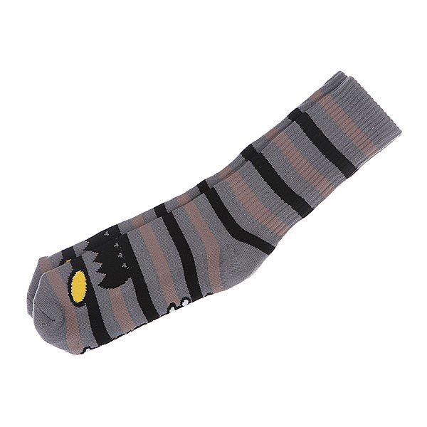 Носки средние Toy Machine Monster Stripe Grey/Tan<br><br>Цвет: серый<br>Тип: Носки средние<br>Возраст: Взрослый<br>Пол: Мужской
