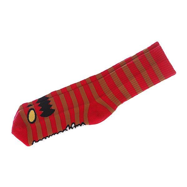 Носки средние Toy Machine Monster Stripe Red/Brown<br><br>Цвет: красный<br>Тип: Носки средние<br>Возраст: Взрослый<br>Пол: Мужской