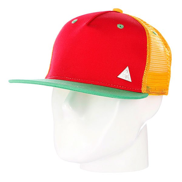 Бейсболка с сеткой True Spin 3 Tone Blank Trucker Cap Red/Yellow/Green бейсболки true spin бейсболка truespin sb50