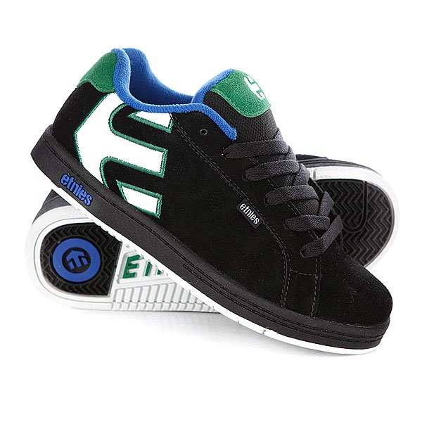 Кеды кроссовки детские Etnies Sample Fader Black/Green/White Proskater.ru 999.000