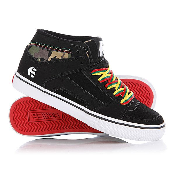 Кеды кроссовки высокие детские Etnies Sample Kids Rvm Vulc Black/Green/Gold Proskater.ru 1819.000