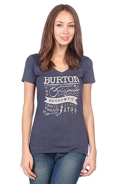 Футболка женская Burton Wmn Marion Rec V Heather Night Rider<br><br>Цвет: синий<br>Тип: Футболка<br>Возраст: Взрослый<br>Пол: Женский