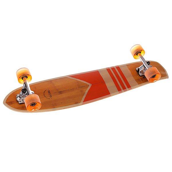 Лонгборд Globe Del Rey Bamboo Bamboo/Orange 8.5 x 36 (91.4 см)Облегченная дека из бамбука, гибкий конкейв и киктейл – стандартный набор для отличного баланса и ощущения настоящего уличного серфинга.Технические характеристики: Дека из семислойного бамбука. Подвеска: Slant 150 mm. Подшипники: Abec-7. Колеса 70 mm 78A.<br><br>Тип: Лонгборд
