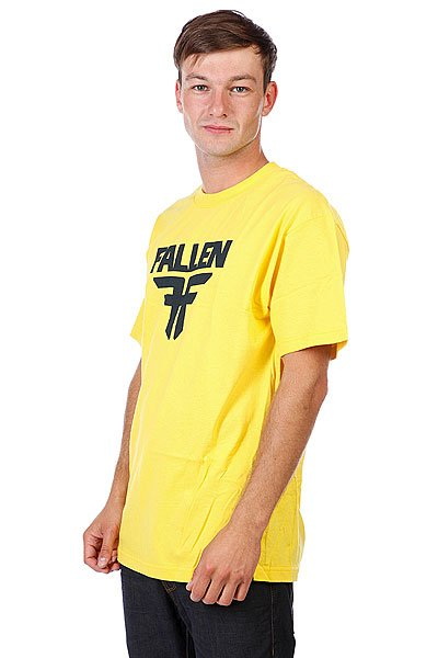 Футболка Fallen Insignia Logo Yellow/Mid Blue<br><br>Цвет: желтый,черный<br>Тип: Футболка<br>Возраст: Взрослый<br>Пол: Мужской