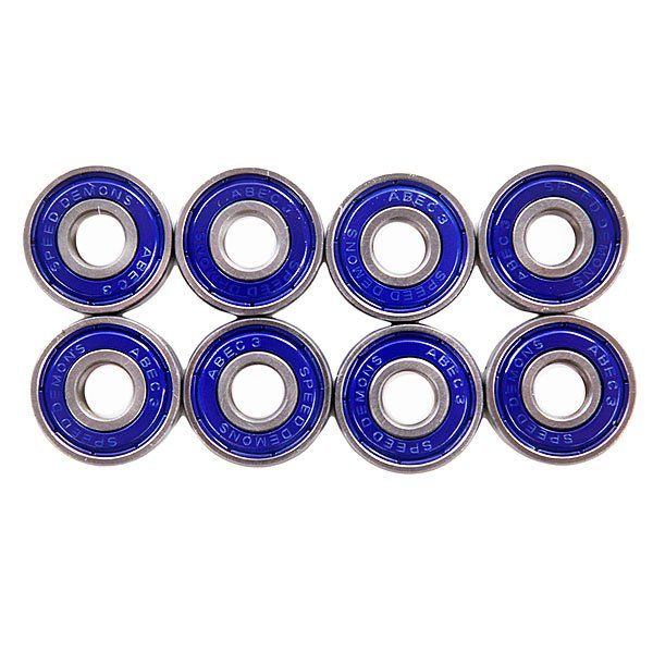Подшипники для скейтборда Speed Demons Abec 3 BlueКомплект чертовски быстрых масляных подшипников для приятного катания.Характеристики:Стандарт: Abec 3.Материал: сталь. Комплект из 8 штук.<br><br>Цвет: синий<br>Тип: Подшипники