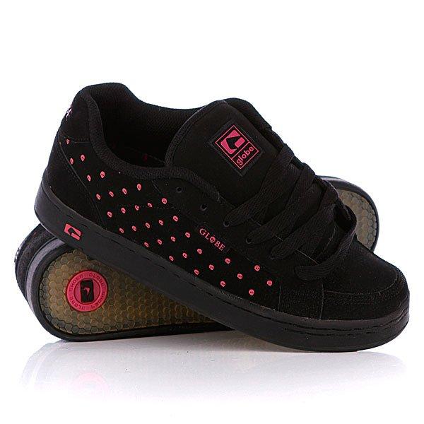Кеды кроссовки женские Globe Viceroy Black/Pink Skull Dot