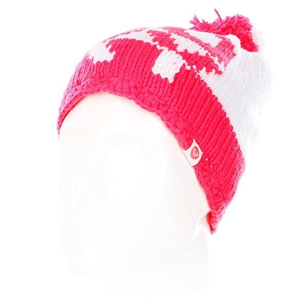 Шапка с помпоном женская Roxy Fjord Beanie Bright White<br><br>Цвет: красный,белый<br>Тип: Шапка<br>Возраст: Взрослый<br>Пол: Женский