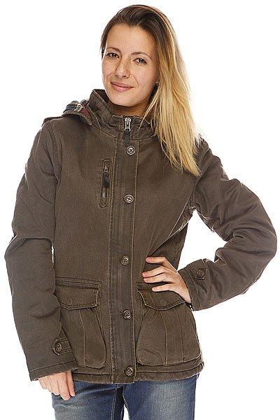 Куртка женская Rip Curl Timeless Jacket TurkishТехнические характеристики: Верх из 100% полиэстера. Внутренняя подкладка-хлопок.Без внутреннего утепления (осень/весна).  Застежка – молния + пуговицы.  Фиксированный капюшон с утяжкой. Два боковых накладных кармана-карго для рук.  Фасон: стандартный (regular fit).<br><br>Цвет: коричневый<br>Тип: Куртка<br>Возраст: Взрослый<br>Пол: Женский