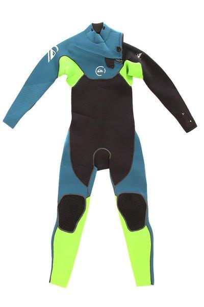 Гидрокостюм (Комбинезон) детский Quiksilver  3/2mm Cypher Boys Chest Zip Steamer Blue<br><br>Цвет: синий,черный,зеленый<br>Тип: Гидрокостюм (Комбинезон)<br>Возраст: Детский