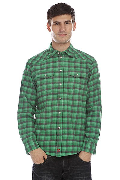 Рубашка в клетку Dickies Wray Ht Charcoal Emerald