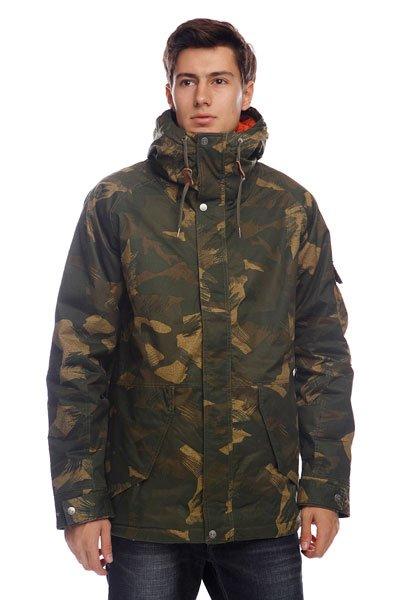 Куртка зимняя Element Holman CamoТехнические характеристики: Верх из 100% полиэстера. Внутренняя подкладка из стеганой тафты.  Застежка – молния по всей длине.  Фиксированный капюшон с утяжкой.Два накладных кармана для рук.  Потайная утяжка пояса.  Внутренний потайной карман. Фасон – стандартный (regular fit).<br><br>Цвет: зеленый,камуфляжный<br>Тип: Куртка<br>Возраст: Взрослый<br>Пол: Мужской