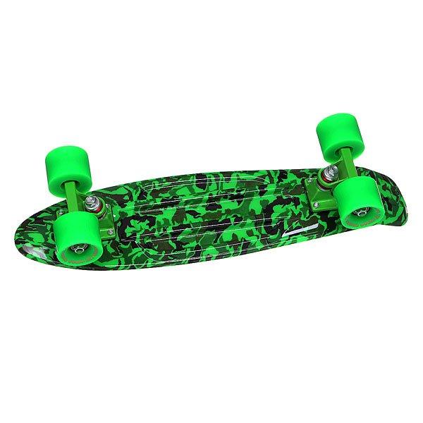 Скейт мини круизер Turbo-FB Camo Black/Green/Green 22 (55.9 см)Пластиковый круизер TURBO-FB - это воплощение стараний ребят из одноименного Российского бренда, которые вот уже более 10 лет выпускают скейтборды и получается это у них, прямо скажем, отлично!  Данная модель круизера обладает целым рядом преимуществ: подшипники ABEC-7 позволят Вам ехать быстрее и дольше с одного толчка ногой, бушинги Thunder сделают управление легким и плавным, а качественная доска прослужит Вам не один сезон! Наслаждайтесь катанием вместе с TURBO-FB!Технические характеристики: Дека Turbo-Fb 56 см x 14.5 см.Подвески Turbo-Fb.Бушинги Thunder.Колеса Turbo-Fb 56 мм 85A.Подшипники Abec-7.Никелированные винты.Изделие не предназначено для трюков и рассчитано на массу до 80кг.<br><br>Цвет: черный,зеленый,камуфляжный<br>Тип: Скейт мини круизер