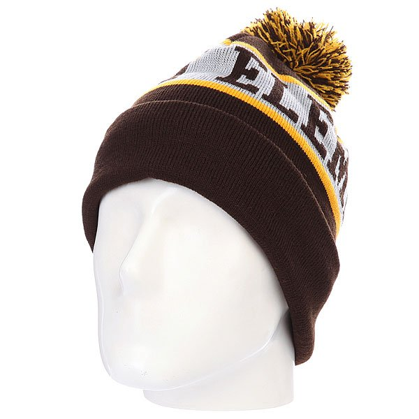 Шапка с помпоном Element Fairfax Beanie Dark Brown<br><br>Цвет: коричневый,желтый<br>Тип: Шапка<br>Возраст: Взрослый