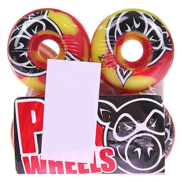 Колеса для скейтборда для скейтборда Pig Head Swirl Red 101A 54 mmДиаметр: 54 mm    Жесткость: 101A    Цена указана за комплект из 4-х колес<br><br>Цвет: желтый,красный<br>Тип: Колеса для скейтборда