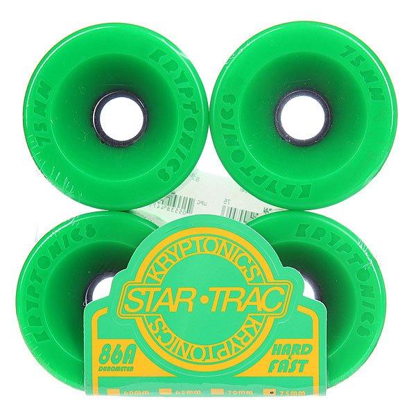 Колеса для скейтборда для лонгборда Kryptonics Star Trac Premium Green 86A 75 mmДиаметр: 75 mm    Жесткость: 86A    Цена указана за комплект из 4-х колес<br><br>Цвет: зеленый<br>Тип: Колеса для лонгборда